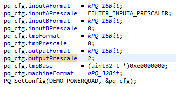 This part of the example program configures and initializes the PowerQuad unit.