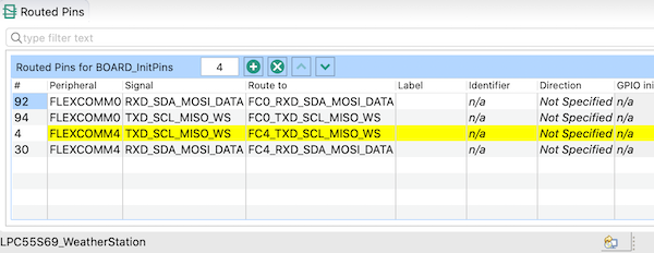The list on the bottom part of the IDE shows the routed pins.