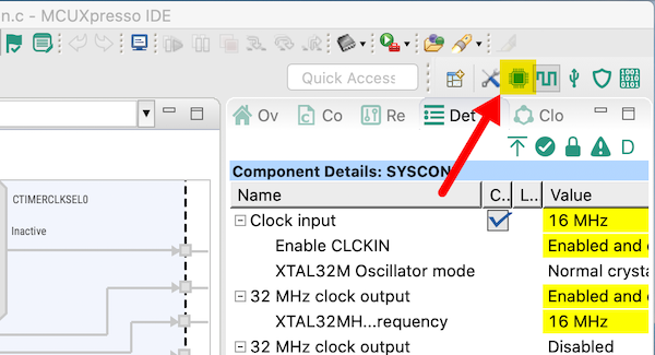 Clicking the pins button opens up the pins configuration tool within the MCUXpresso IDE.