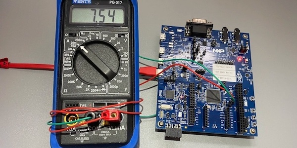 With a multimeter connected to JP22, we see the MCU consumes 7.54 mA at 150 MHz.
