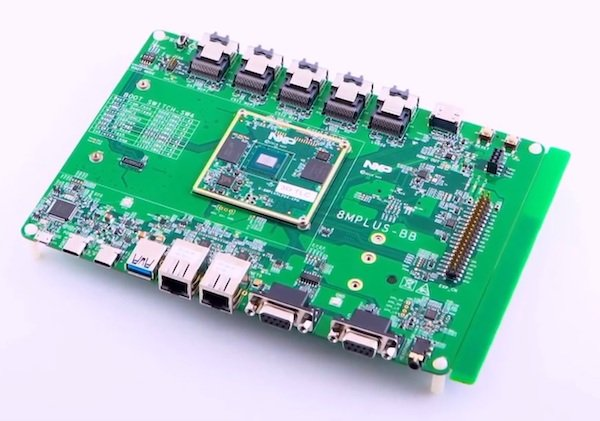 This evaluation board showcases the wide variety of available ports to connect the i.MX 8M Plus to existing equipment.