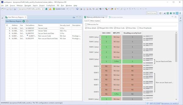 Esta ferramenta MCUXpresso permite ao usuário visualizar e editar o mapa de memória do MCU.