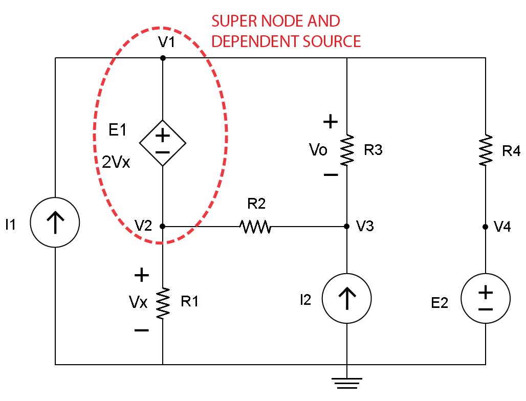 Circuit Is Modeled On A Schematic The Nodes Are Wires Between Nodal Analysis And Dependent Sources
