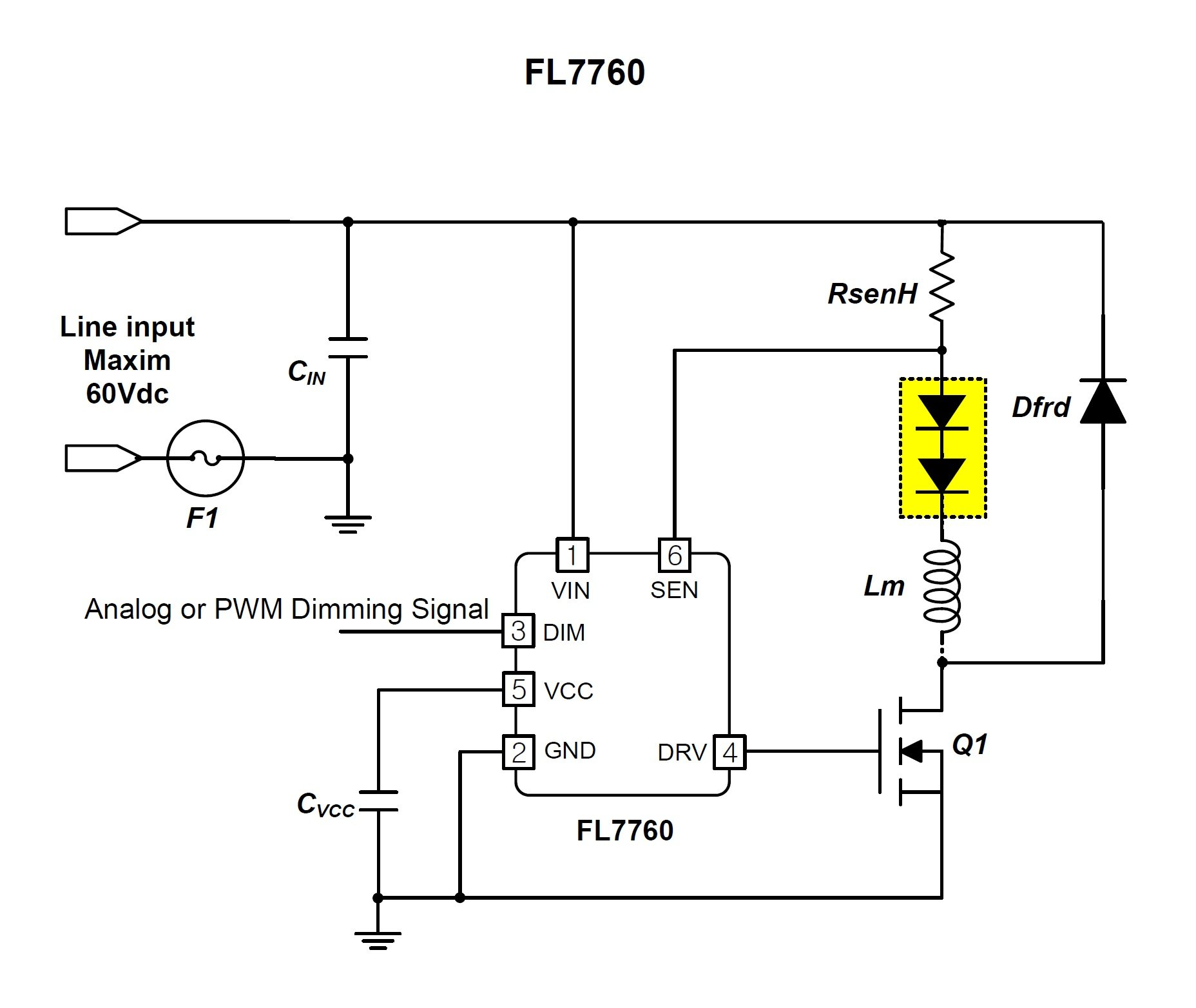 Wide Input Voltage Range In A Small 6 Pin Package On Semis New Led Circuit For Figure 2 Fl7760 Application Schematic Image Taken From The Datasheet Pdf
