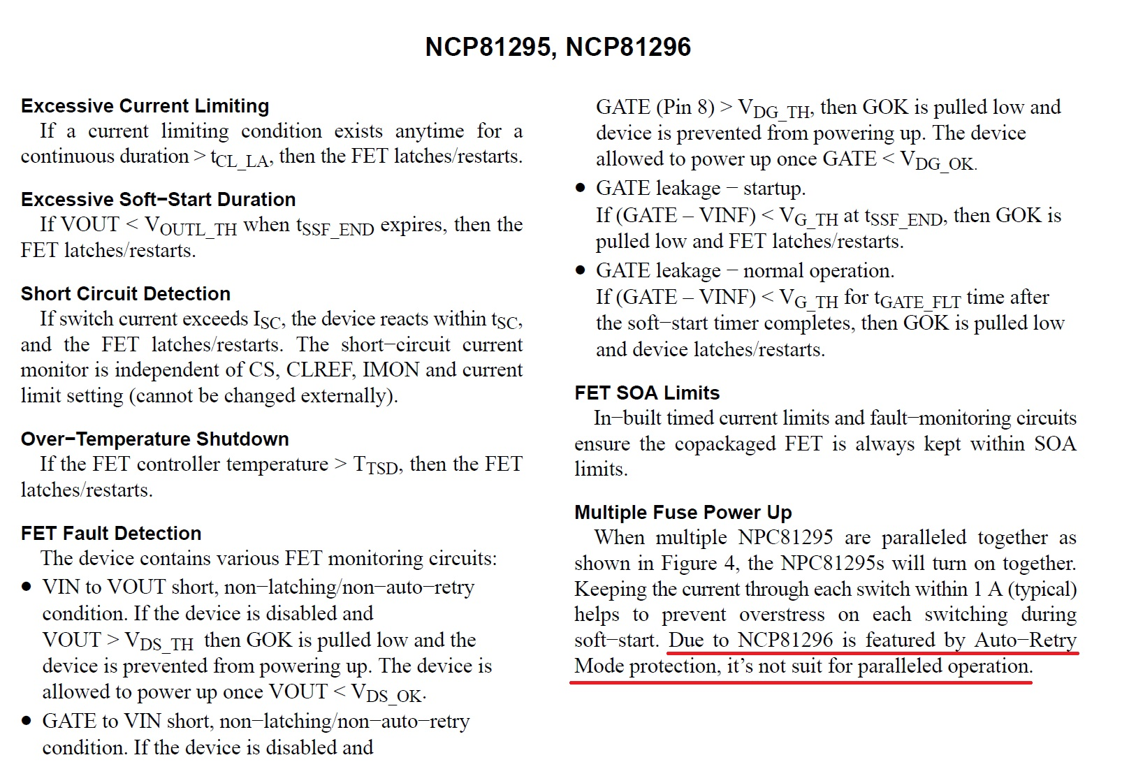 An Electronically Resettable Hot Swap Smart Fuse From On Current And A Latching Circuit That Controls The Gate Of Mosfet In What Appears To Be Error Datasheet Only Ncp81295 Not Ncp81296 Is Suitable For Parallel Connections