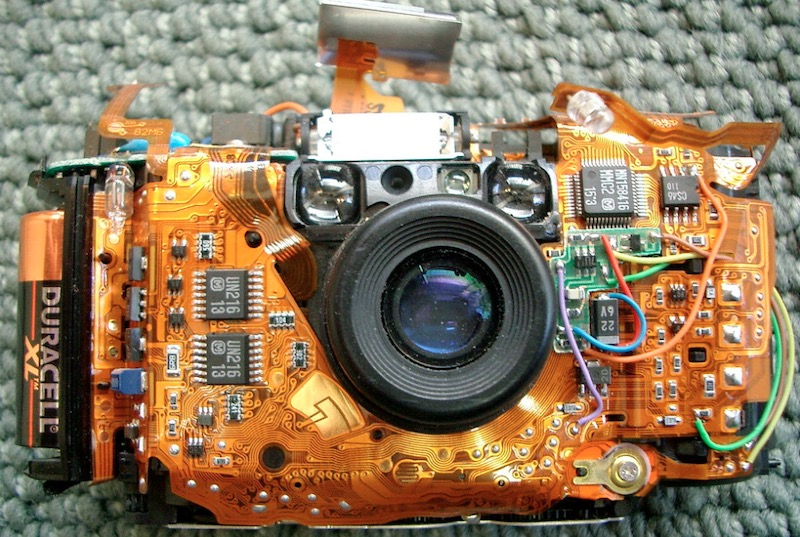Olympus Stylus camera that shows flexible PCB assembly.