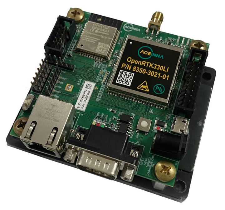 OpenRTK330LI mounted on an evaluation board