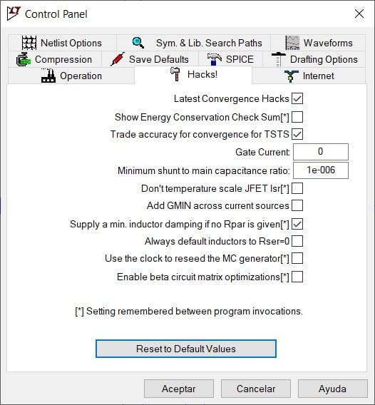 Option for default parallel resistance (Rpar) in LTSpice