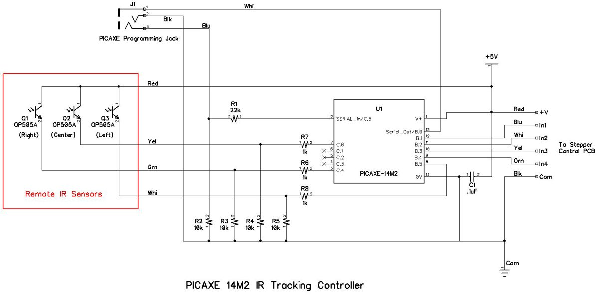 Building an Infrared Tracker with a PICAXE 14M2 and a Stepper Motor