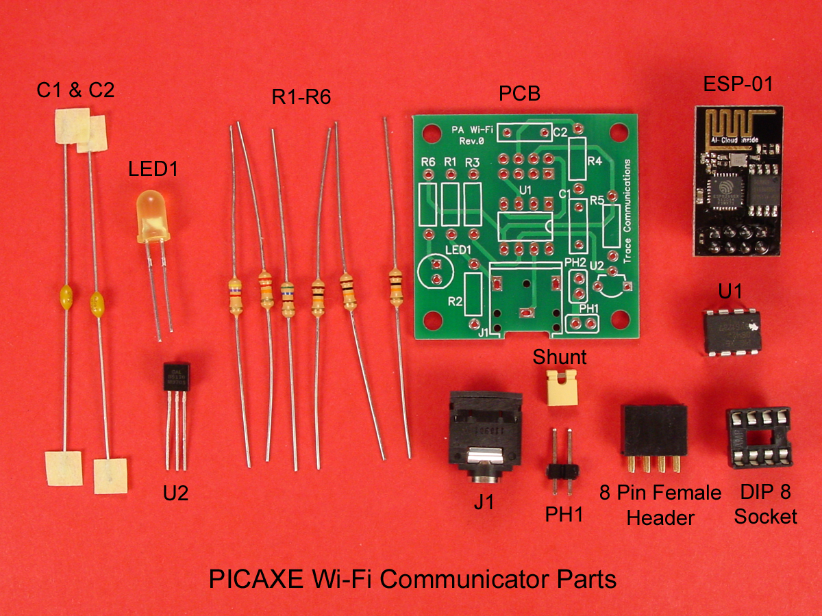 Build A Picaxe Esp 01 Wi Fi Communicator Resistor Color Code And Smd Calculator Software Electronic Circuits The Set Of Parts Is Shown Above Suggested Order Installation As Follows