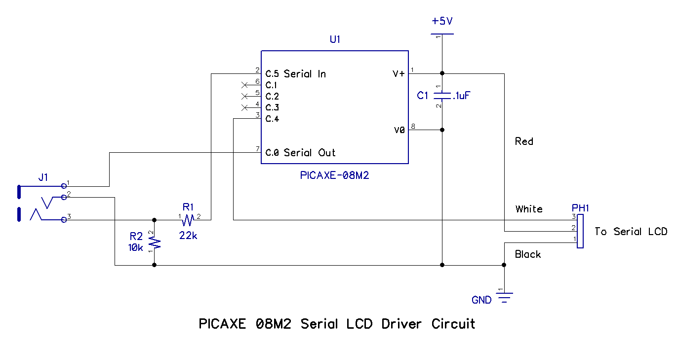 Using A Serial Lcd With Picaxe Circuit Diagram Of Nokia C2 01 Here Is Photo The 08m2 Driver Built On Solderless Breadboard Connect Cable To As Shown