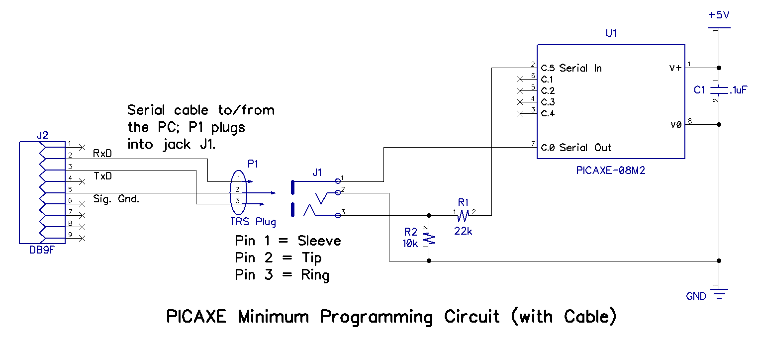 Picaxe To Pc Connections Pic Programmer Schematic Together With Serial If You Are On A Really Tight Budget Can Omit The 35mm Plug And Jack Just Cables Three Wires Directly Into Solderless Breadboard