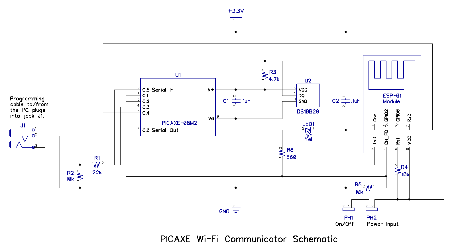 Build A Picaxe Esp 01 Wi Fi Communicator Single Cell Led Flashlight Circuit Schematic Diagram Two Views Of The Assembled Pcb Are Shown Below One Without Module Inserted In To Board Mounted Jack And With It