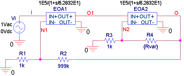 PSpice circuit for a composite amplifier using Laplace blocks to simulate 1-MHz op-amps