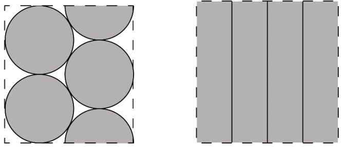 Packing principle for cylindrical cells (left) vs. the packing principle of prismatic and pouch cells