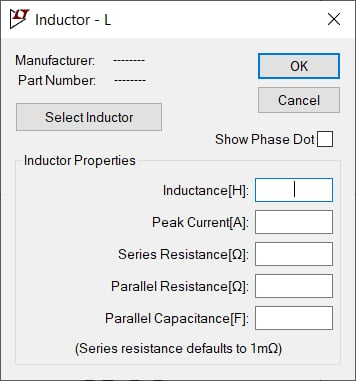 Parasitic components of inductors in LTspice