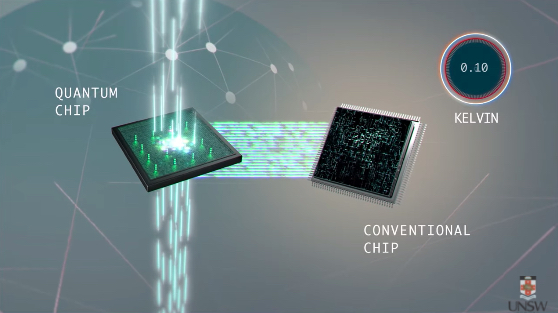 Quantum chip placed in cool temperatures beside conventional silicon chip