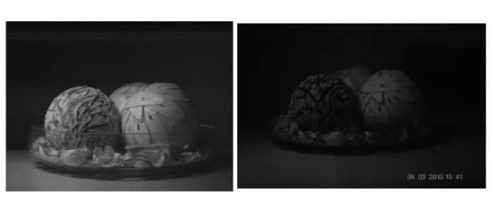 Quantum image (left) vs DLSR image (right) in a dark room