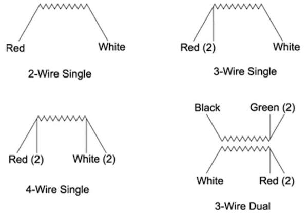 RTD sensors come in several lead wire configurations