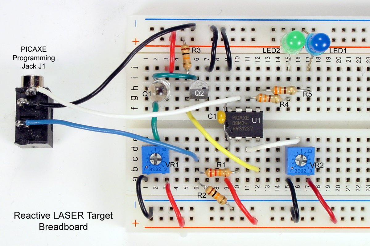 Create A Laser Detection System Using Picaxe The Breadboard Schematic Of Circuit Above Is Shown Below Wire Colors In Photograph Agree With Designations On Diagram Entire Should Be Powered By Regulated