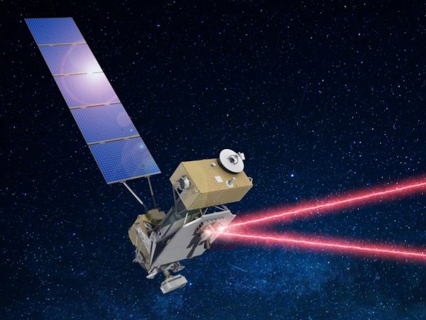 Rendering of the LCRD transmitting optical signals