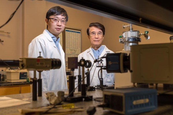 Researchers Liangzi Deng and Paul Chu from the University of Houston.