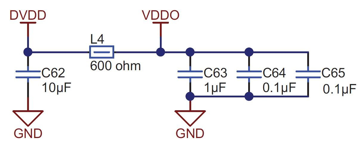 Figure 7. Decoupling components (capacitors and ferrite) for the ADC digital supply (DVDD) and clock buffer output supply (VDDO) on the ADS127L01EVM schematic
