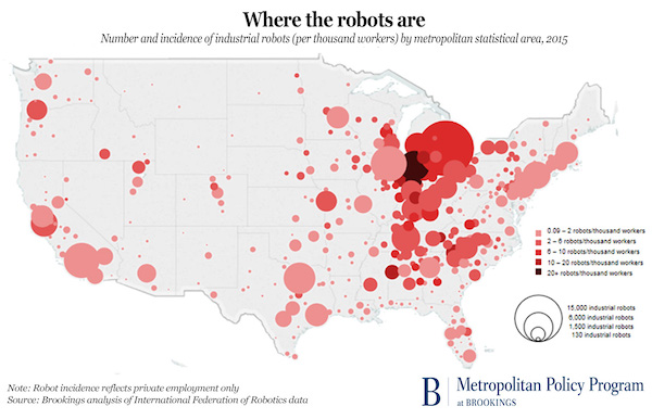 Robotics hubs or cities in the United States according to Brookings analysis.
