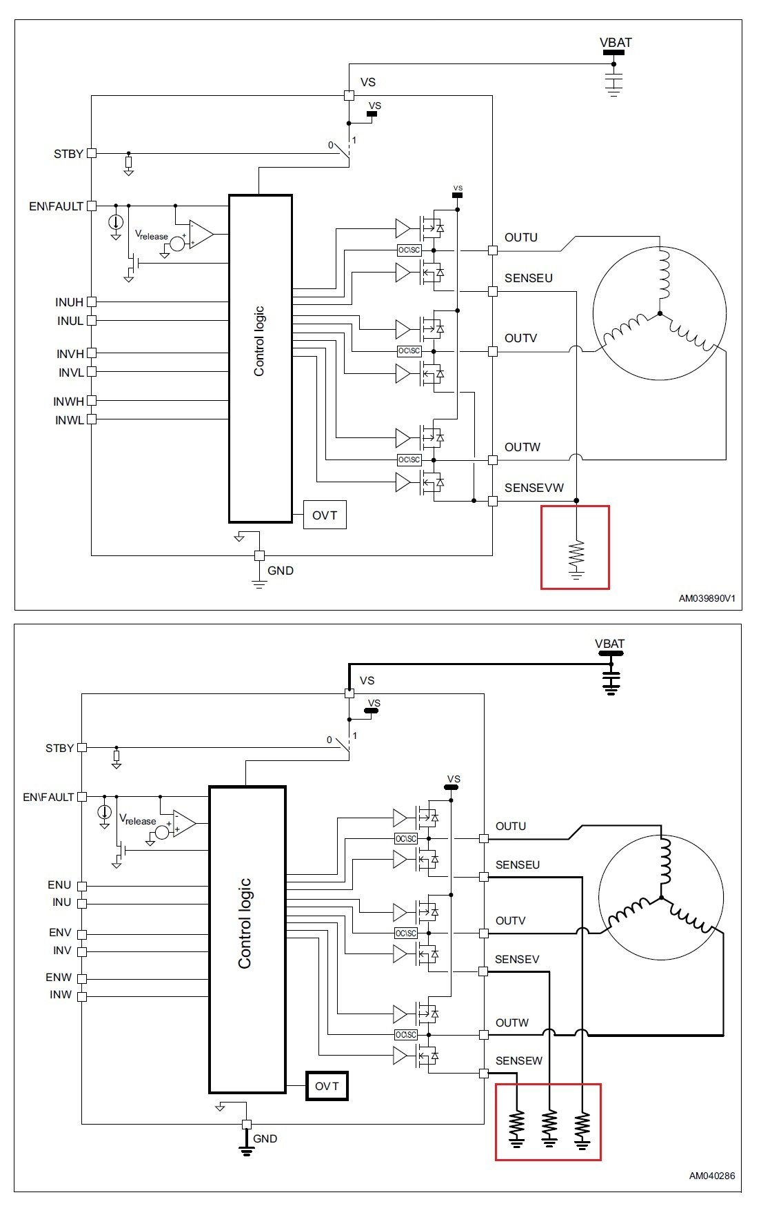 A New Motor Driver For Three Phase Battery Operated Motors From Brushless Dc Wiring Circuit Motorcontrol Controlcircuit The Figure Below Shows Block Diagrams Of These Two Devices Along With Their Respective Shunt And Single Current Sensing Methods In Red