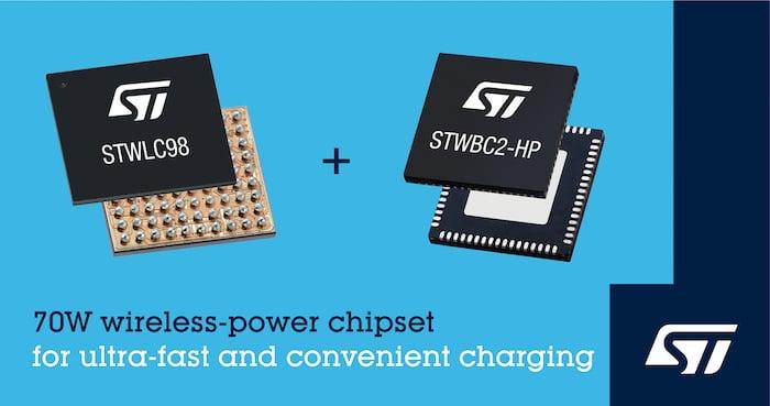 ST's latest wireless-power chipset: STWLC98.