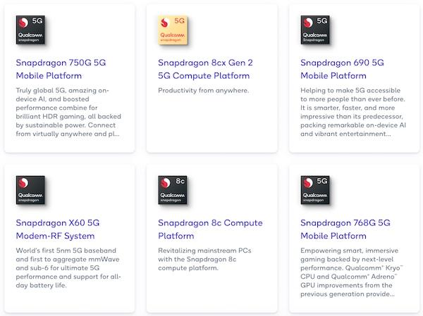 Sampling of Qualcomm's 5G chipsets