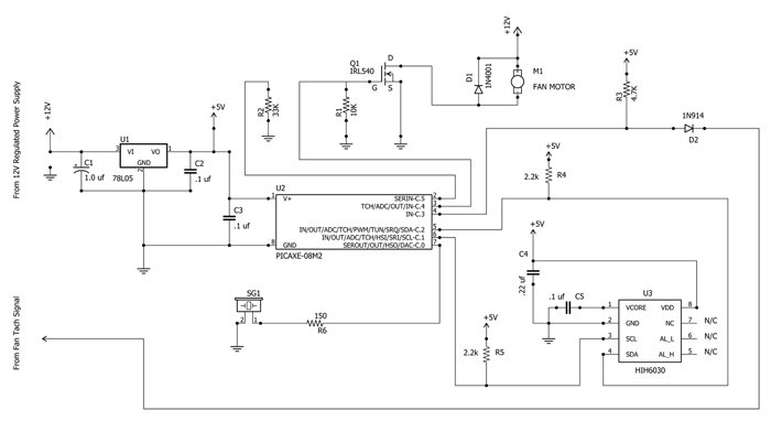 Build a Temperature and/or Humidity Controlled Fan with a ... on fan motor symbol, surge suppressor schematic, exhaust fan relay schematic, fan symbol blueprint, fan thermostat schematic, fused circuit schematic, mov schematic, cooling fan schematic, low subwoofer filter schematic, varistor schematic, muscle fiber schematic,