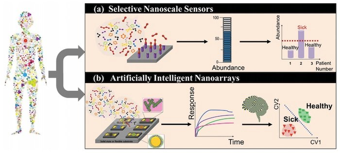 Schematic of nanomaterial-based sensors detecting VOCs to identify disease
