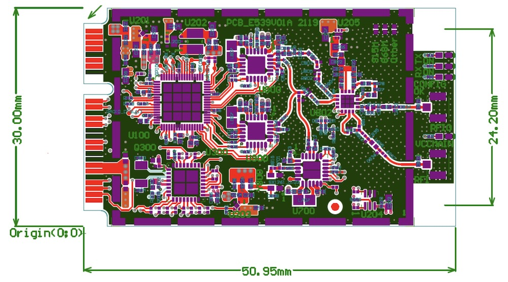 PCB layout of the Semtech Corecell reference design