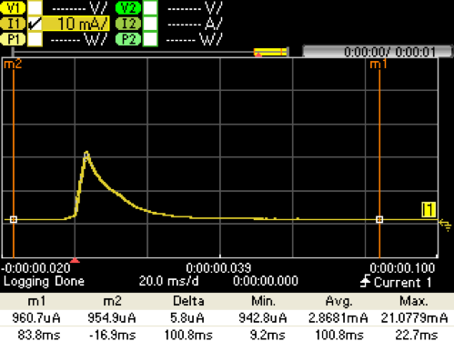 Figure 10. Buck Only Capture @ VPS= 3.0 V. IBATT (Yellow)