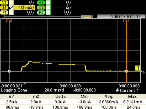 Figure 17. Boost Bootstrap Configuration Capture @ VPS= 2.5V. IBATT (Yellow)