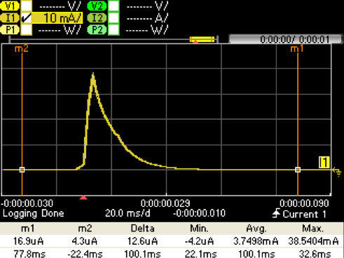 Figure 5. Direct Battery Connection Capture with 330 µF Storage Cap @ VPS= 3.0 V. IBATT (Yellow)