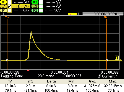 Figure 7. Direct Battery Connection Capture with 330 µF Storage Cap @ VPS= 2.5 V. IBATT (Yellow)
