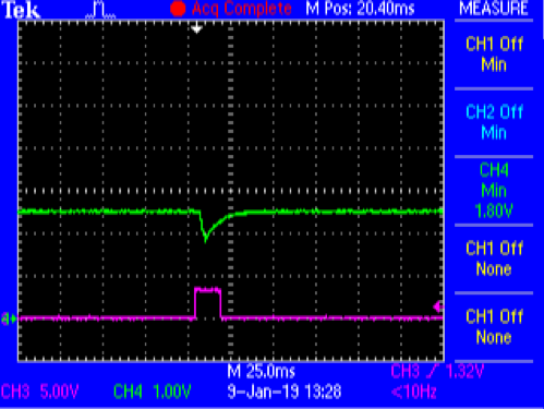 Figure 8. Direct Battery Connection Capture with 330 µF Storage Cap @ VPS= 2.5 V. VBATT (Green) and CTRL2 (Magenta)