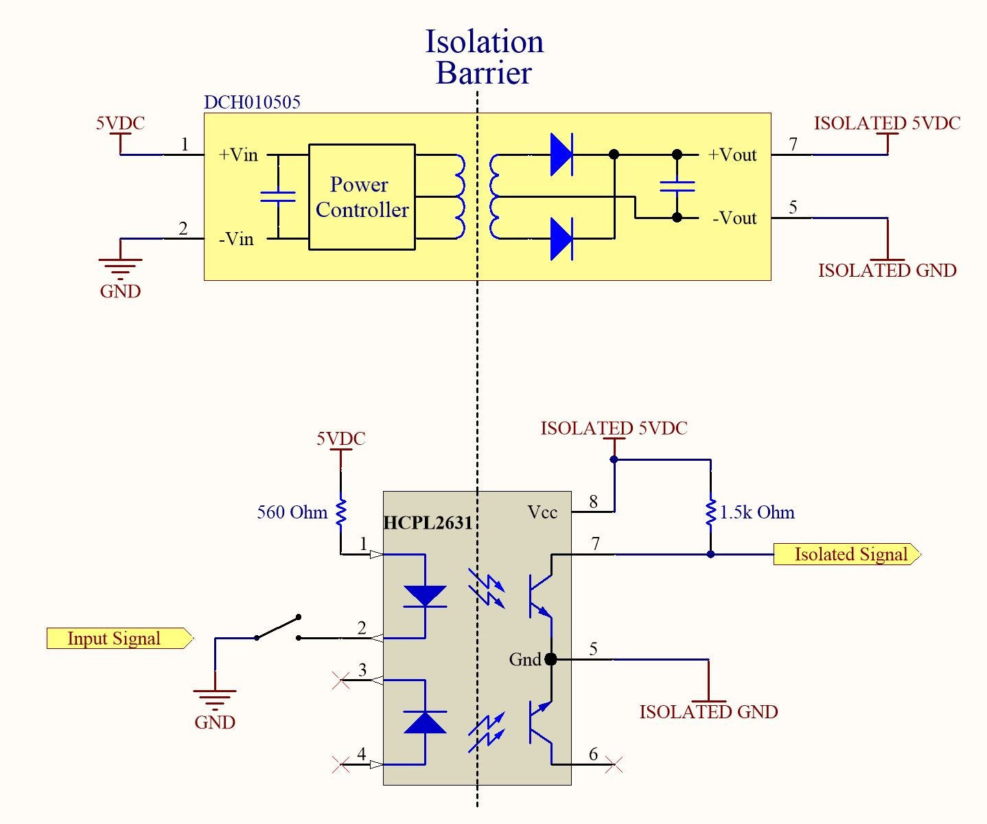 How To Eliminate Ground Loops With Signal Isolation Circuit As Well 24 Volt Dc Power Supply Schematic On Voltage Current From The Pull Up Resistor And Brings Isolated Close Possible So In Digital Terms Low Input Output