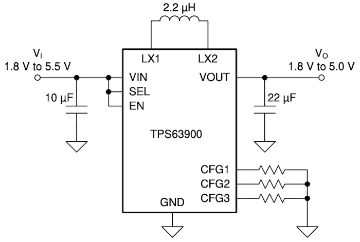 Simplified TPS63900 schematic