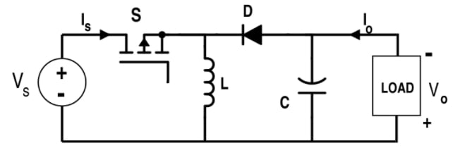 Simplified inverting buck/boost converter topology.