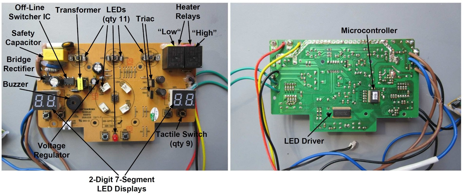 Teardown Tuesday Space Heater News Wiring A Electric In Fact If You Look Closely At The Pcb Youll Notice That All Copper Is Actually Located On Only One Side Of Board Reducing Material Costs Even