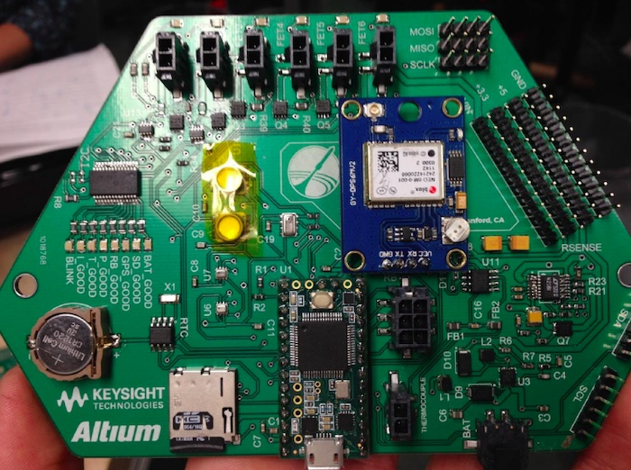 Student-made high altitude balloon avionics sensor board.