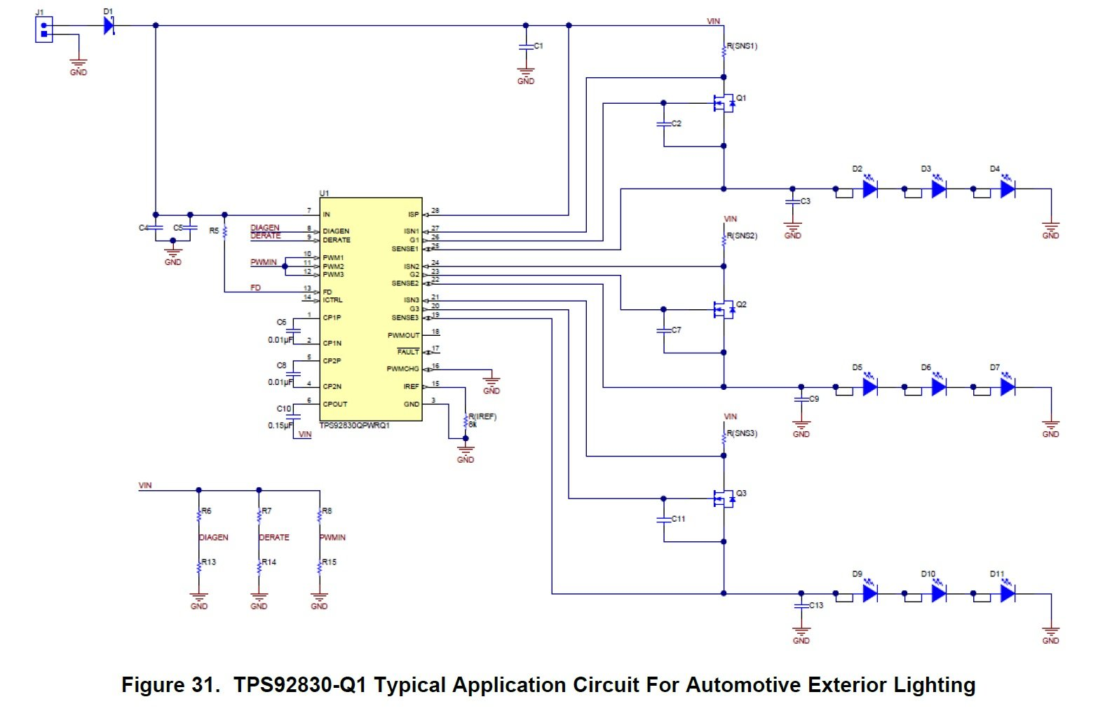 Led Control For Automotive Applications A 3 Channel Constant How To Make Circuit Pdf Version Schematic An Exterior Lighting Application Taken From The Datasheet