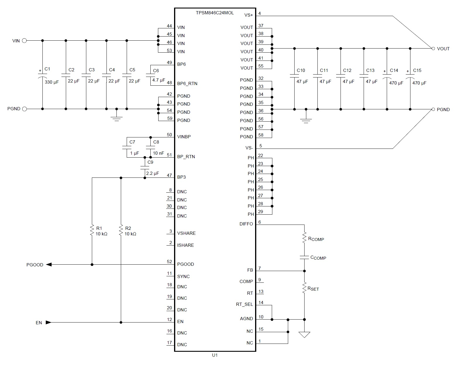 An Integrated High Current Power Module 05 To 2 Volt At 35 Amps Wireless 51 Mosfet Amplifier Circuit View The Tpsm846c24 And Its External Components Diagram Taken From Datasheet Pdf
