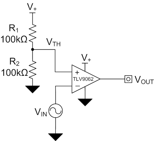 Figure 8: Comparator application using the TLV9062