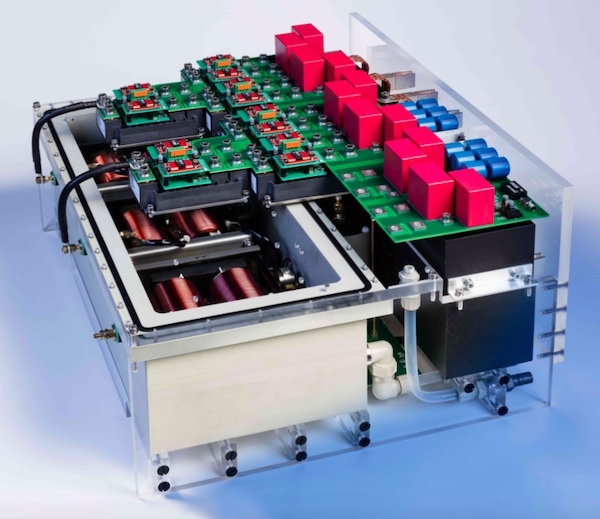 The Fraunhofer ISE team created this 250-kVA inverter stack, which included 3.3-kV-SiC-transistors