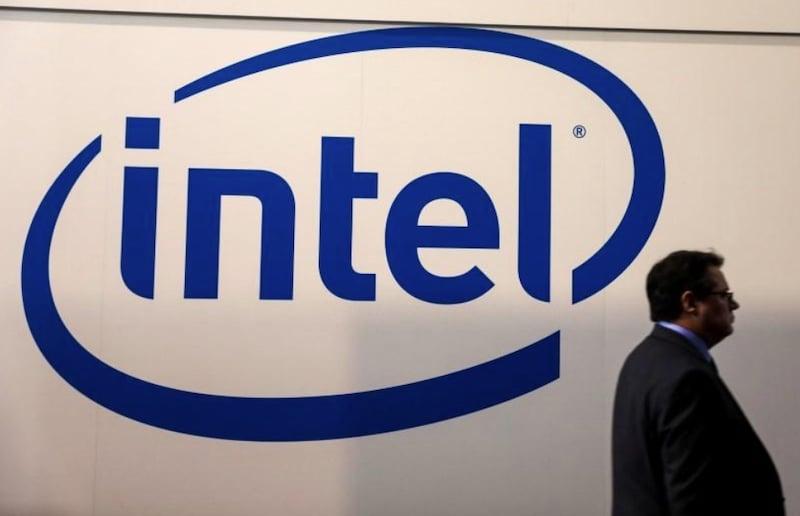 The Intel logo at a previous Mobile World Congress