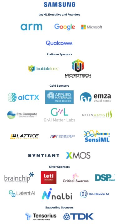 The founders and sponsors of the tinyML Summit